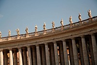 The Holy See, St. Peter´s Basilica, statutes over colonnade, low angle view