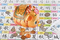 Close_up of a piggy bank with Chinese currency