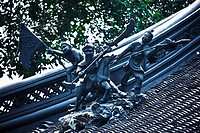 Low angle view of statues on the roof, Yu Yuan Gardens, Shanghai, China