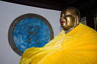 Close_up of a laughing Buddha, Beidaihe, China