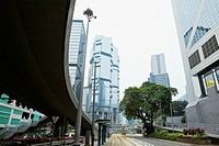 Low angle view of skyscrapers in a city, Des Voeux Road, Hong Kong Island, China
