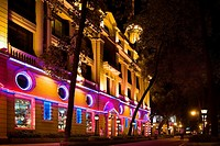Building lit up at night, Shamian Island, Guangzhou, Guangdong Province, China