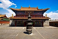 Sculpture in front of a temple, Da Zhao Temple, Hohhot, Inner Mongolia, China (thumbnail)