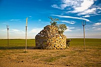 Shrine on a landscape, Inner Mongolia, China
