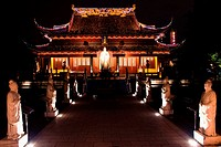 Pagoda lit up at night, Nanjing, Jiangsu Province, China