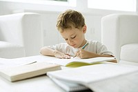 Little boy sitting at coffee table, working on homework