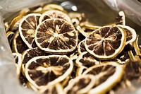 Close_up of dry lemon slices at a market stall, Tai´an, Shandong Province, China