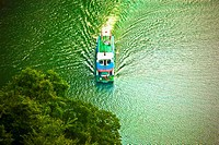 Aerial view of a boat in a river, Li River, XingPing, Yangshuo, Guangxi Province, China