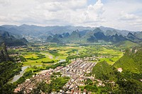 High angle view of a town, Xingping, Yangshuo, Guangxi Province, China