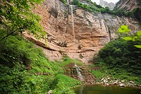 Water falling from a cliff, Taihang Grand Canyon, Linzhou, Henan Province, China