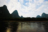 Hills along a river, Guilin Hills, XingPing, Yangshuo, Guangxi Province, China (thumbnail)