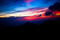 Silhouette of a mountain range at dusk, Huangshan Mountains, Anhui Province, China (thumbnail)