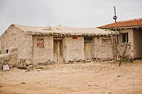Facade of a mud hut, Inner Mongolia, China