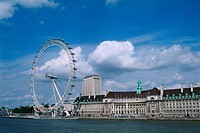 England _ London _ South Bank district and Millennium Wheel