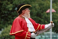New Zealand _ South Island _ Canterbury _ Christchurch _ Town Crier announcing events of the city on the square of the cathedral every day at 12am