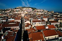 Portugal _ Lisbon _ View of S&#210;o Jorge Castle and Alfama