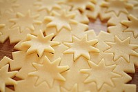 Raw pastry with cut_out stars