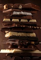 A stack of different chocolate bars