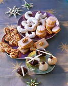 Assorted Christmas biscuits on plates