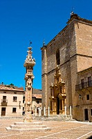 Spain _ Castile and Leon _ Province of Burgos _ Penaranda de Duero _ Plaza Mayor and Santa Ana College