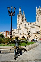 Spain _ Castile and Leon _ Burgos _ Cathedral and statue of pilgrim Saint Jacques de Compostelle