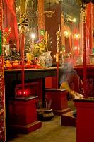 Incense sticks burning in temple, Man Mo Temple, Hong Kong, China