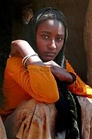 giovane donna, bayuda desert, nubia, sudan, nord africa