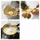 Making pineapple and coconut cake