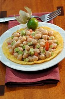 Chick_peas with avocado, tomatoes & coriander on corn tortilla