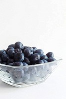 Fresh Bluberries in a Glass Bowl