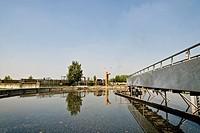 vasca di sedimentazione, impianto di depurazione delle acque, origgio, lombardia, italia,