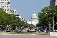 Buildings in a city, Pennsylvania Avenue, State Capitol Building, The Mall, Washington DC, USA