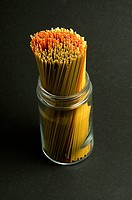 High angle view of spaghettis in a jar