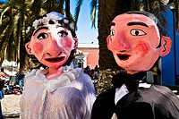 Close_up of a newlywed puppet couple, Oaxaca, Oaxaca State, Mexico