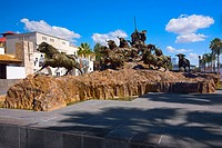 Bull statues at a monument, Monumento al Encierro. Aguascalientes, Mexico