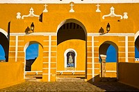 Facade of a church, Convento De San Antonio De Padua, Izamal, Yucatan, Mexico