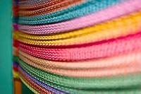 Close_up of multi_colored threads, Izamal, Yucatan, Mexico