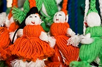Close_up of hand made dolls, Santo Tomas Jalieza, Oaxaca State, Mexico