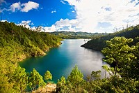 Lake surrounded by mountains, Lagunas De Montebello National Park, Chiapas, Mexico