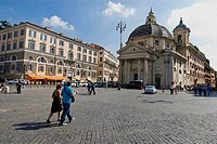 Piazza del Popolo with the church of Santa Maria in Montesanto  Rome, Lazio, Italy