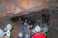 Visitors in the Cueva del Viento-Sobrado lava tube, Tenerife, Canary Islands, Spain