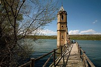 Old submerged church in Rozas de Valdearroyo. Ebro reservoir. Cantabria. Spain