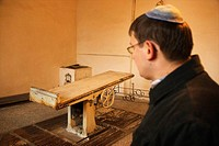 Room where bodies are prepared before burial in the Zidowski Jewish cemetery, Lozd, Poland