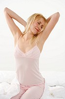 Woman stretching blissfully