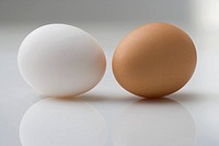 White egg and brown egg