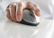 Closeup of hand pressing mouse button