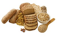 Close up of assorted grains and bread