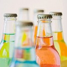 Close up of glass soda bottles