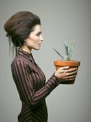 Woman with agave, portrait
