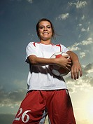 Low angle view of soccer player